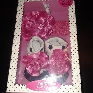 Baby Rosette Headband & Polka Dot Socks Set